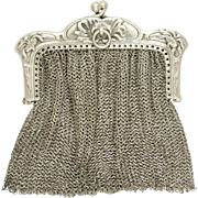 Antique Art Nouveau French .800 Silver Chain Mail Mesh Lady's Chatelaine Purse, Chrysanthemum Flowers Motif