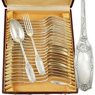 24pc Art Nouveau French Sterling Silver Flatware Set, Alphonse Debain, Forks & Spoons Service for 12, Peony Flowers & Acanthus