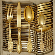 48pc Antique French Sterling Silver Gilt Vermeil Flatware Service, Set for 12, Ornate Empire Motif