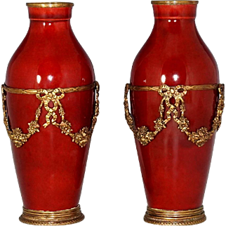 Antique Pair French Paul Milet Sevres Red Ox Blood Sang De Boeuf Flambe Glaze Vases