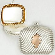 Antique French .800 Silver & Gilt Vermeil Repousse Purse Compact Mirror