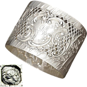Antique French Sterling Silver Napkin Ring, Pierced Lattice Ornate Repousse Rococo Foliage, 49.8g