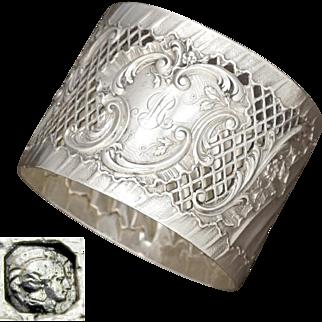 Antique French Sterling Silver Napkin Ring, Pierced Lattice Ornate Repousse Rococo Foliage, 49.8g