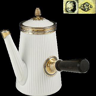 Rare Antique French Sterling Silver & Porcelain Tea Pot by Pillivuyt, Gilt Vermeil, Plisse Pattern, Figural Pineapple Finial