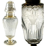 Antique French Sterling Silver Sugar Caster Shaker, Muffineer, Gilt Vermeil & Cut Crystal