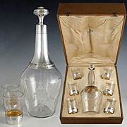 French Sterling Silver Liquor Service, 7pc Cut Crystal Carafe Decanter & Set of Cups or Shot Glasses, Original Box