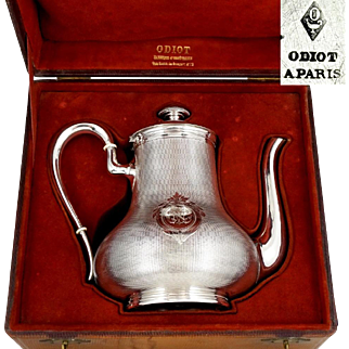 ODIOT - Antique French Sterling Silver Coffee Pot or Teapot in Box, 811.3g