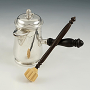 Charming French Sterling Silver Hot Chocolate Pot with Moussier
