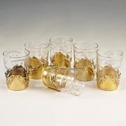 Art Nouveau French Sterling Silver Gilt Vermeil Shot Glasses, Boxed Set