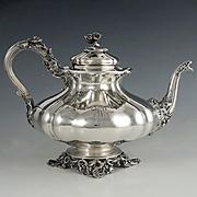 Antique French Sterling Silver Melon Teapot, Heavy 802.5g, Ornate Lion & Floral Motif