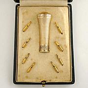 Antique French Sterling Silver Gilt Vermeil Belle Epoque Parasol Umbrella Handle, Dress Cane Handle