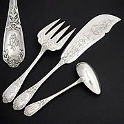 French Sterling Silver 3pc Fish Serving Set, Fork & Knife Servers, Sauce/Gravy Ladle, Oak Leaves & Acorns Motif