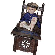 ** Small Wax over Doll  Molded Hat With Chair 1880**