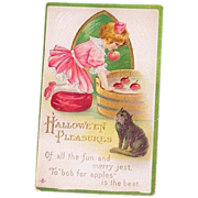 L.S.C. Halloween 1914 Little Girl & Black Cat Bobbing For Apples Postcard