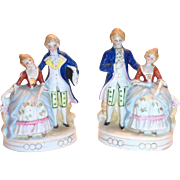 Pair of 2 Hand Painted Porcelain Colonial Style Man & Woman Figurines