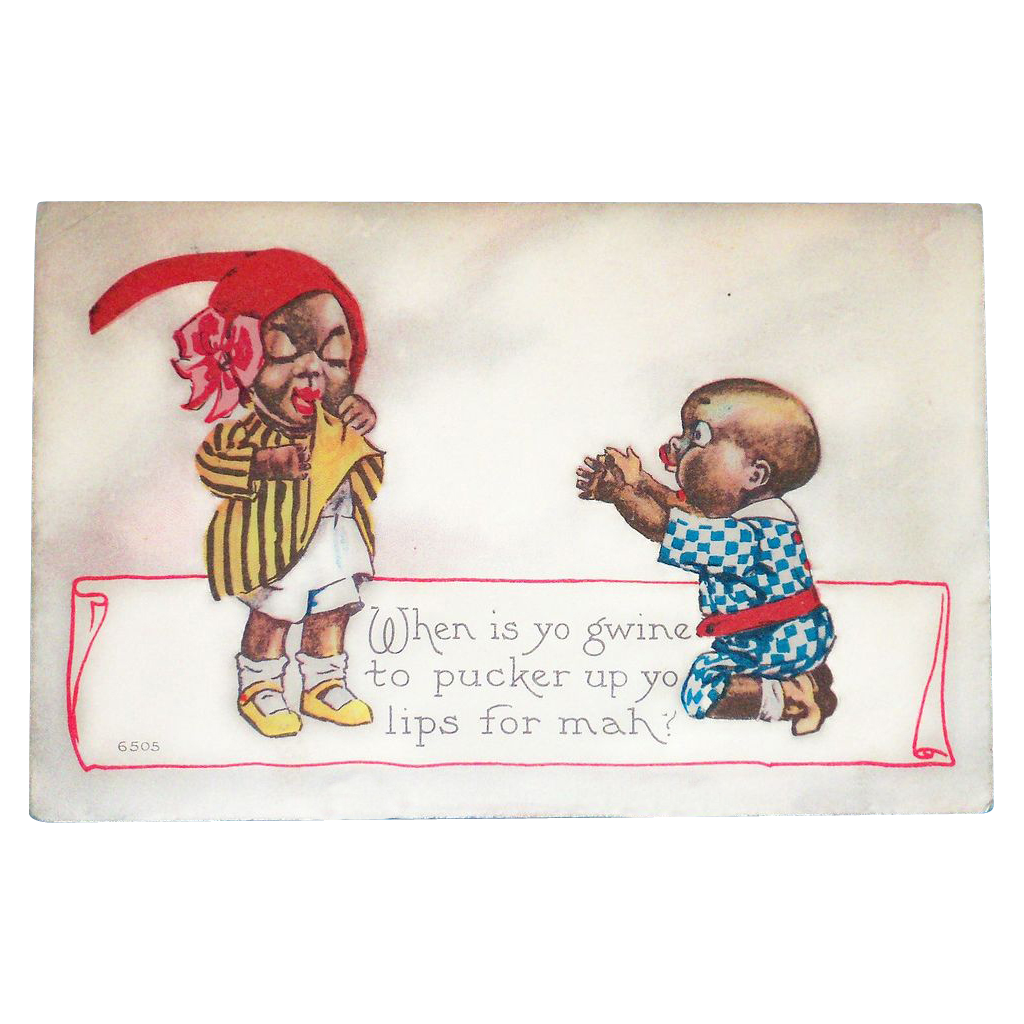 Black Americana: Pucker Up Vintage Postcard - 1915