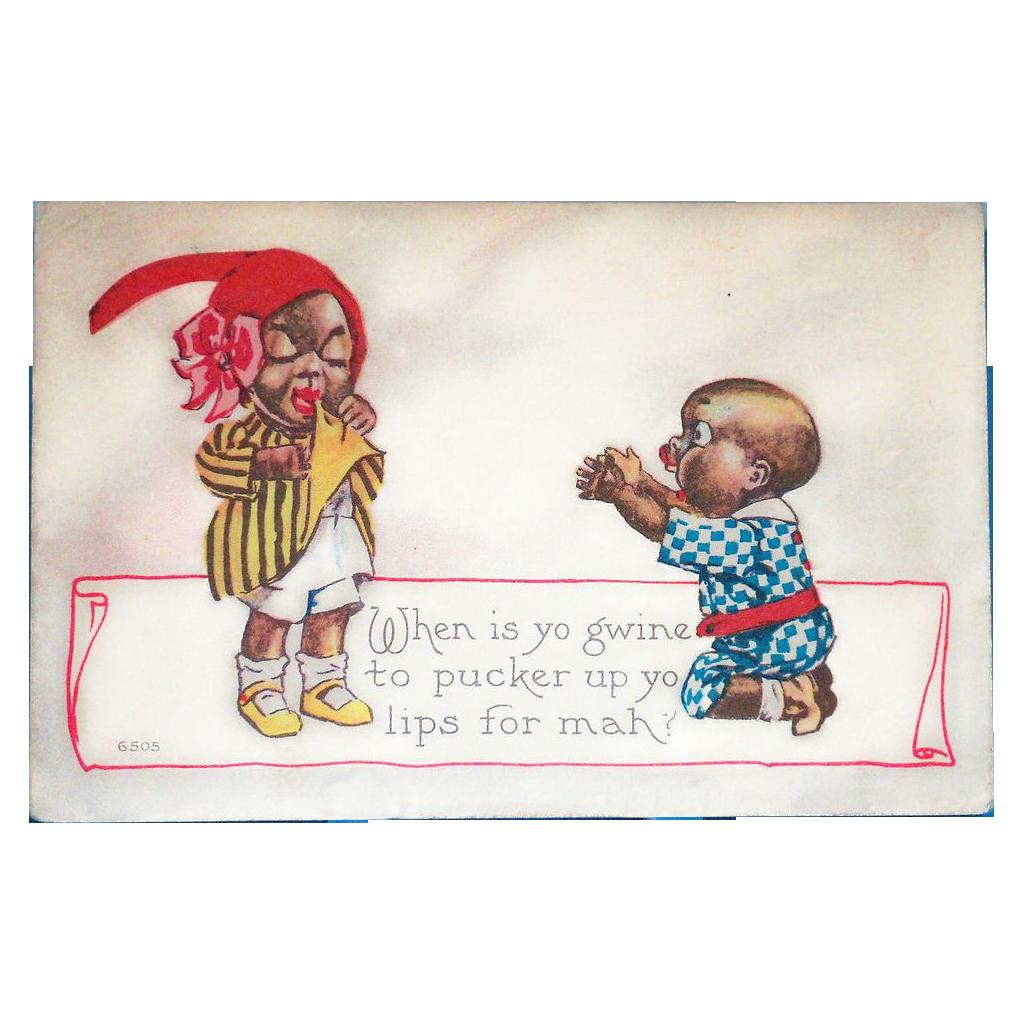 Black Americana: Pucker Up Vintage Postcard - 1915
