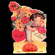Vintage Fold Down Little Girl With Floral Basket Valentine - Marked