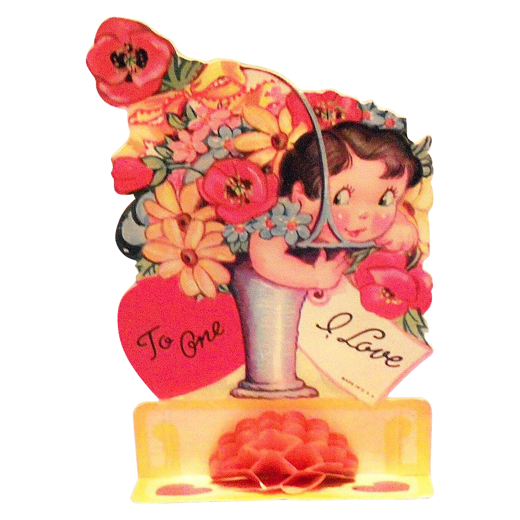 Vintage Fold Down Little Girl With Floral Basket Valentine - Marked
