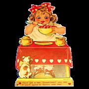 Vintage Girl Eating Red Heart Porridge Valentine - Marked