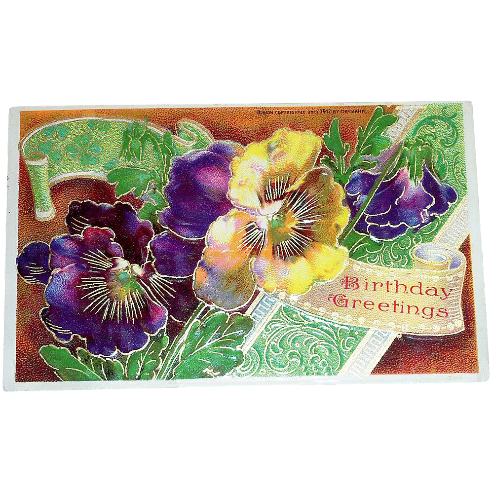 B&S: Pansies Birthday Greetings Postcard - Marked