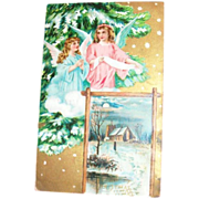 A Merry Christmas, Angels & Scenic Design Postcard - Germany
