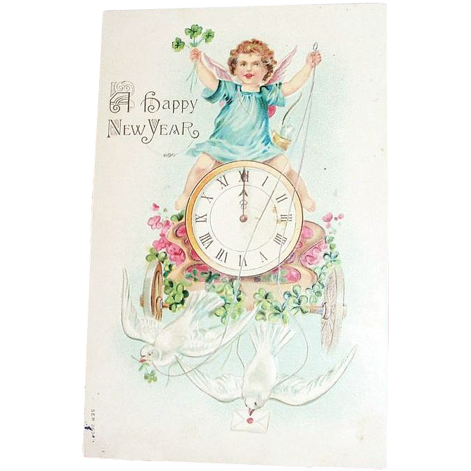 A Happy New Year Angel On Clock Embossed Postcard