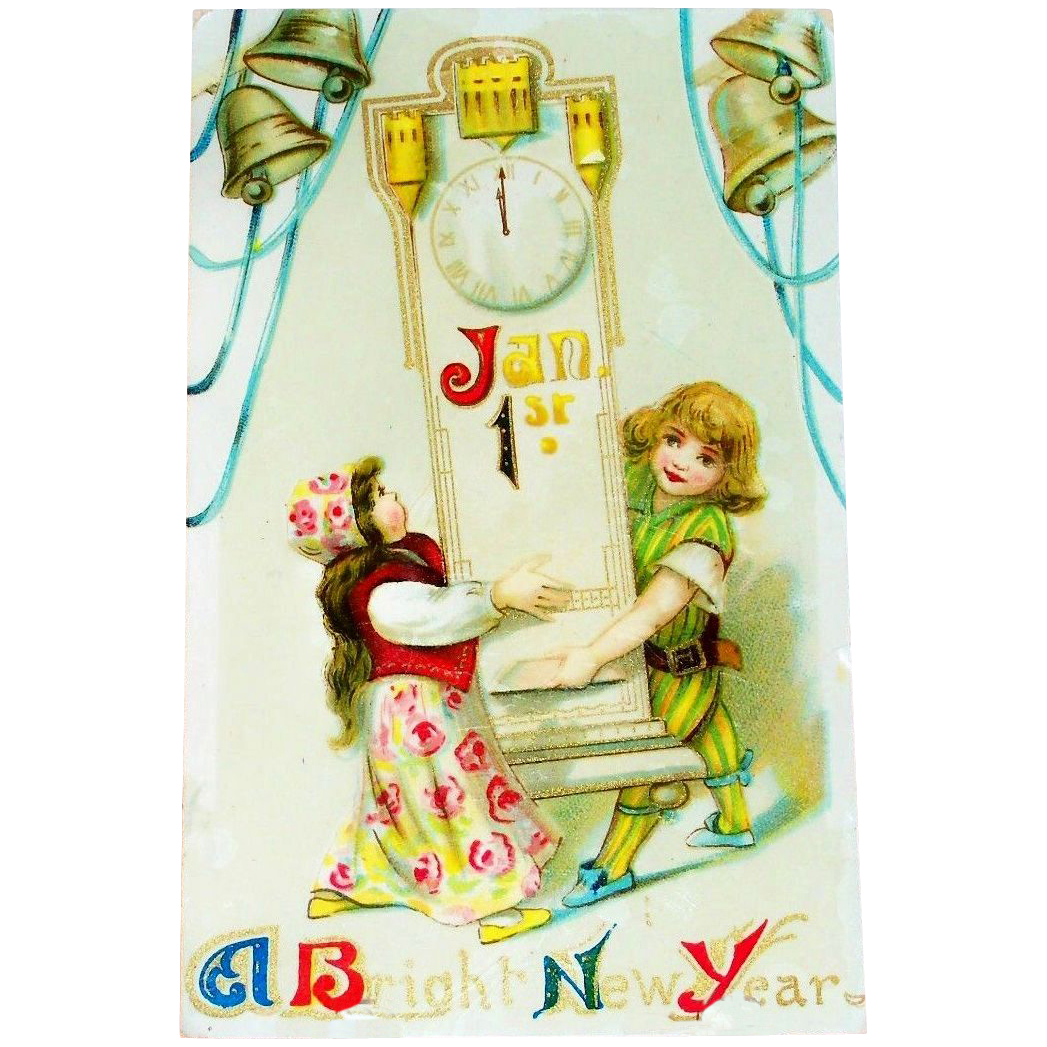 A Bright New Year Postcard - Marked