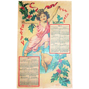 1911 Happy New Year Calendar Postcard