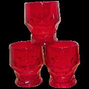 Ruby Red Georgian Honeycomb Juice Glass