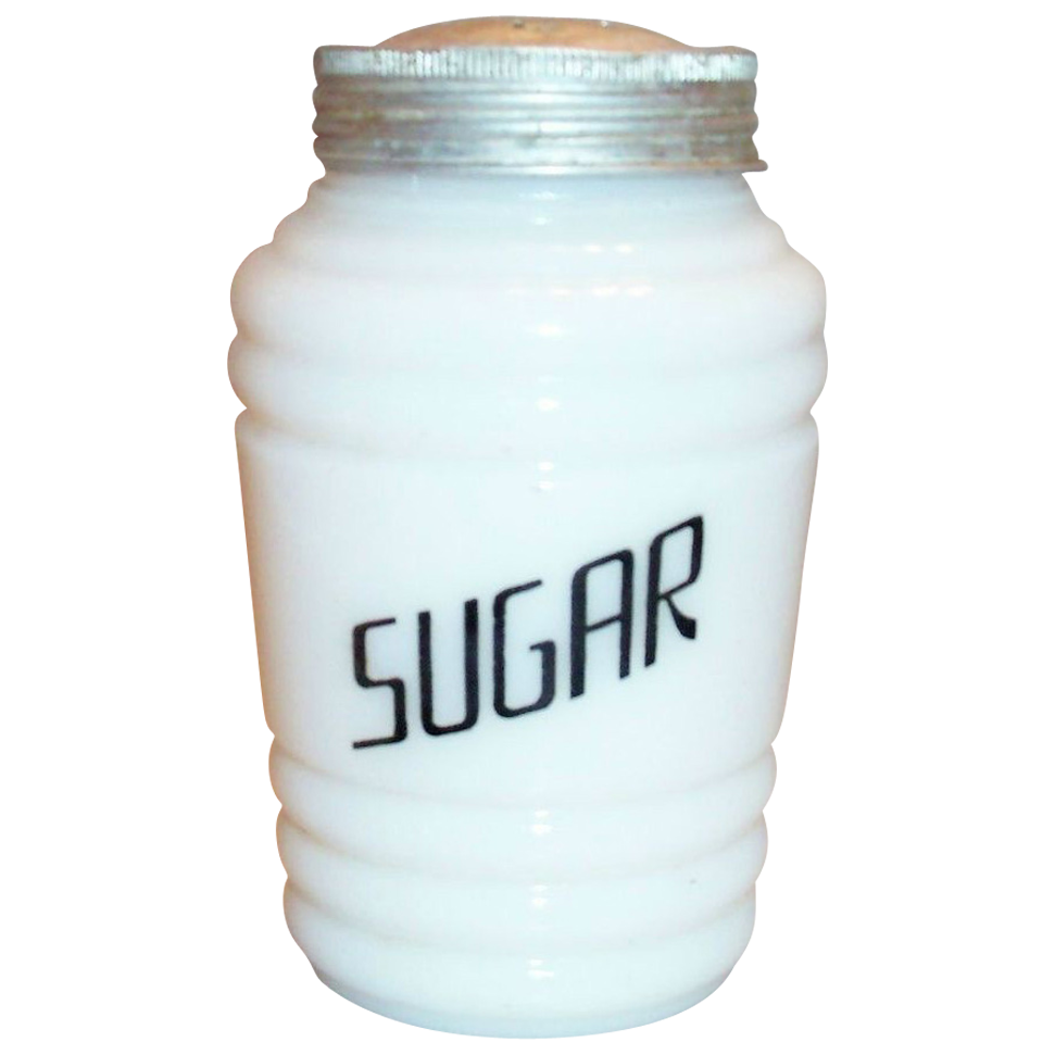 Hazel Atlas Round Ribbed Platonite Sugar Shaker