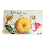 Best Wishes For A Good Thanksgiving Postcard - Marked