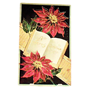 A Merry Christmas Poinsettia & Ribbon Design Postcard - Germany