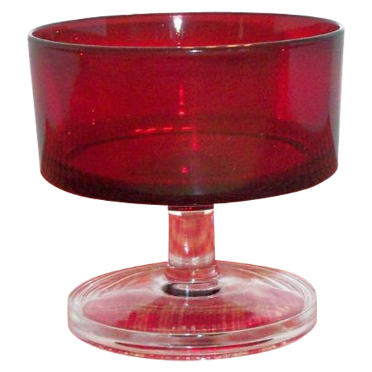 Ruby Red Glass Sherbert with Clear Glass Stemmed Base - Marked