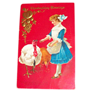 Thanksgiving Blessings: Little Girl Feeding Turkeys Postcard