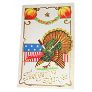Thanksgiving Greetings: Patriotic Turkey with a Fork & Knife in His Back Postcard - Germany