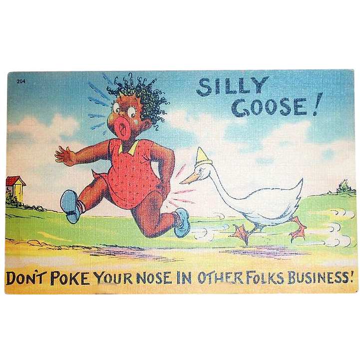 Black Americana: Silly Goose Postcard - Marked