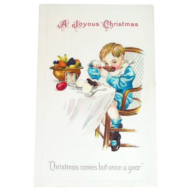 """A Joyous Christmas""  Comes But Once A Year Postcard"