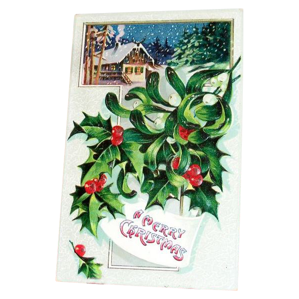 """A Merry Christmas"" Holly & Winter Chalet Scene Postcard - Marked"