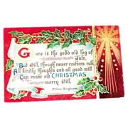"B&S: ""Old Christmas"" Scroll & Poem Postcard"