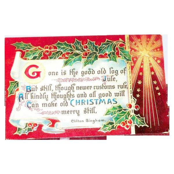 "B&S: ""Old Christmas"" Scroll & Poem Postcard"