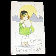 "Stecher Litho Co.: ""Christmas Greetings"" Little Girl & Muff Design Postcard"