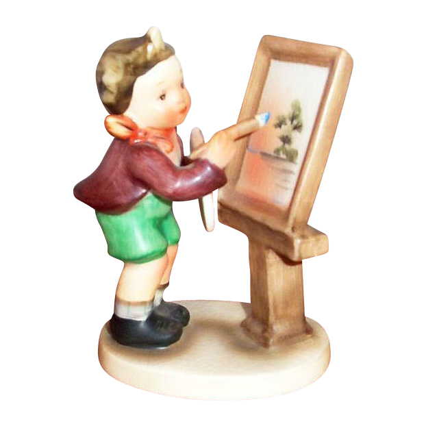 "Hummel-Like Hand Painted Porcelain ""Painting"" Figurine - Marked"