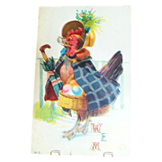 """Welcome Easter Morning"" Chicken With Basket Of Eggs Postcard"