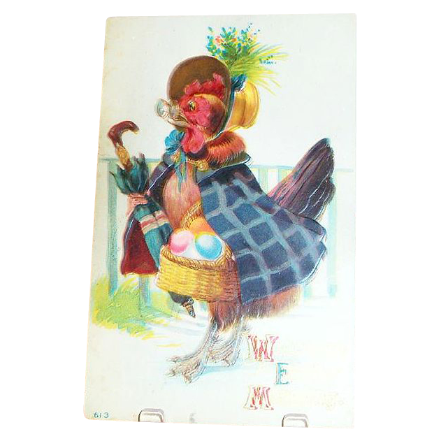 """""""Welcome Easter Morning"""" Chicken With Basket Of Eggs Postcard"""