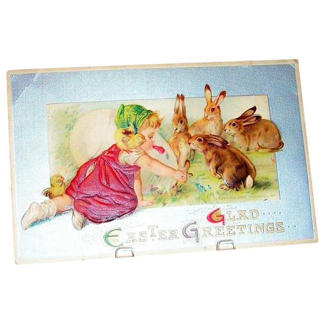 """""""Glad Easter Greetings"""" Toddler Girl With Rabbits & Large Egg Postcard"""