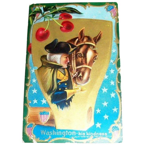 Washington: His Kindness Patriotic Postcard - Marked