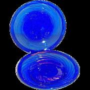 Vintage Cobalt Blue Swirl Design Mexican Plate