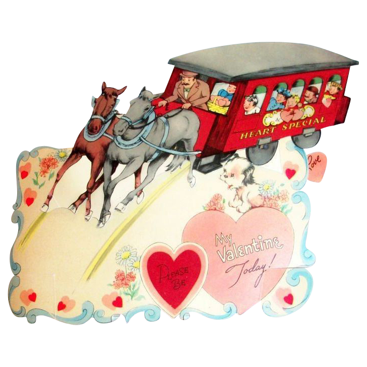 """Larger Vintage Mechanical """"Please Be My Valentine Today!"""" Trolley Valentine"""