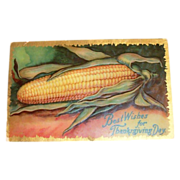 Best Wishes For Thanksgiving Day Corn Cob Design & Embossed Postcard